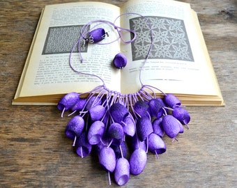 necklace silk cocoon earrings lilac necklace pendants cocoons jewelry necklace silk cocoon Fairy necklace, elven jewelry