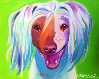 Chinese Crested, Pet Portrait, DawgArt, Dog Art, Pet Portrait Artist, Colorful Pet Portrait, Chinese Crested Art, Art Prints, Crestie, Art