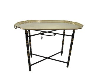 Hollywood Regency Solid Brass Tray Tea Coffee  Table Mid Century Faux Bamboo Brass Tray Serving Table Chinoiserie Serving  Tray Table