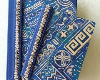2 Handbound Journal Set in Blue Book Cloth with Decorative Paper