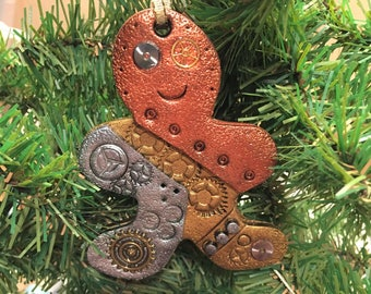 Gingerbread Man Steampunk Christmas Ornament - Industrial Style Holiday Decor large style 3