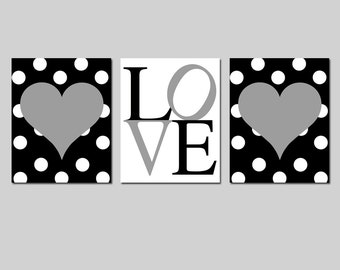 Heart Nursery Art Trio Heart Nursery Decor Heart Nursery Wall Art Black Nursery Art Baby Girl Nursery Art Love Sign - CHOOSE YOUR COLORS