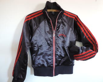 ADIDAS Black Satin Track Jacket Red Stripe Adidas Fitted Track and Field Jacket Athletic Wear size Ladies S