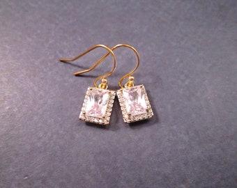 Cubic Zirconia Earrings, Emerald Cut White Stones, Gold Dangle Earrings, FREE Shipping U.S.