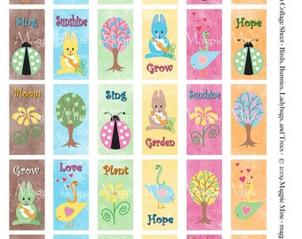 Spring in Bloom Collage Sheet  1 x 2 Domino Sized Rectangles - Bunnies - Ladybugs - Flowers - Birds - Trees
