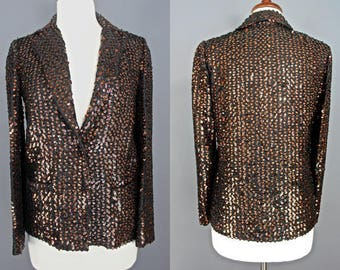 Sequined Jacket    Early 80's Bronze Sequined Jacket Sequined Blazer Size Small