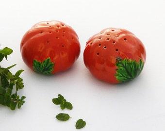 Vintage Ceramic Tomato Salt & Pepper Shaker Set