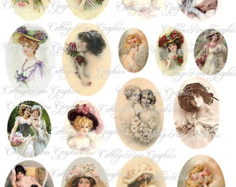 Large digital download Multiple image collage Vintage Victorian ladies ATC ACEO ECS Jewelry buy 3 get one free