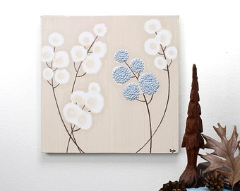 Minimalist Painting Canvas Art Original with Textured Flower, Blue and Brown - Small 10x10