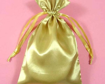 "30 Gold Satin Bags with Drawstrings, 3""x4"", 4""x6"", 5""x8"", Gold Jewelry Bags, Jewelry Gift Pouch, Gold Satin Gift Bags, Gift Pouches"