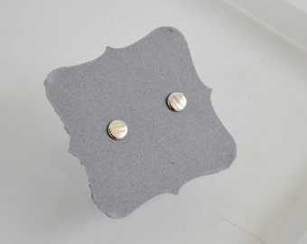 Line Textured silver Dot Earrings, 4mm Earrings, Stud Earrings, Post Earrings, silver Earrings, silver Dots, Hammered Texture, Minimal Studs