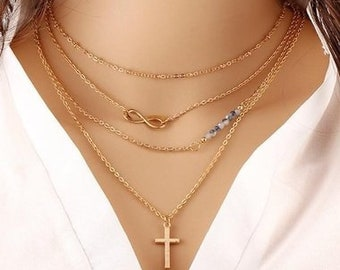 Diane Lo'ren 18kt Gold Plated Multi Strand Infinity Cross Charm Necklace with Austrian Crystals