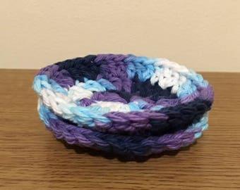 Set of 2 crochet body pad scrubbies. Blueberry muffin!