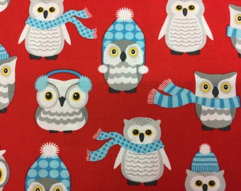 Fabric - Kauffman- Polar Pals - Owls - Red