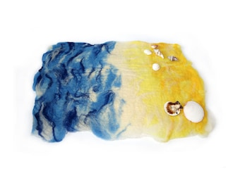 Waldorf inspired Seaside Beach Sea play scape play mat natural organic needle felted hand made wet felted toy pretend play