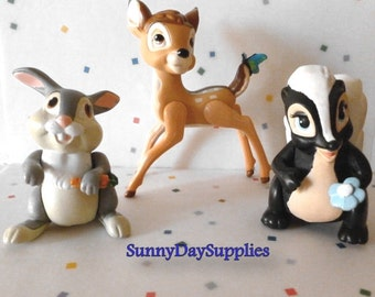 McDonald's Bambi Toys, Happy Meal Toys, Bambi, Thumper and Flower, Bambi Characters, 3 toys in Lot, 1988 toys, Vintage Toys