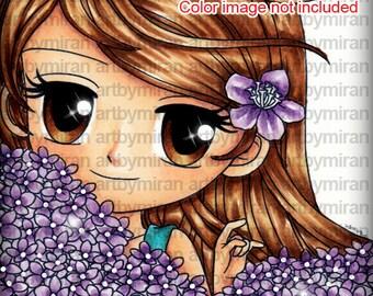 Digital Stamp-Florina(#84), Digi Stamp, Coloring page, Printable Line art for Card and Craft Supply