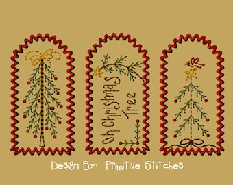 MACHINE EMBROIDERY-Christmas Stick Tree Tag Collection-Small-4x4-Instant Download