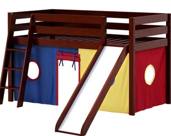Twin Loft Bed with Slide Blue/Red/Yellow Curtain, Cherry