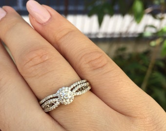 Bridal Set - 14K White Gold Engagement Ring with Matching Wedding Band Style #L4936