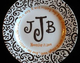 Handpainted Platter - Monogrammed Plate - Wedding Gift