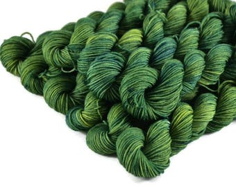 Mini Skeins, Hand Dyed Yarn, Sock Weight, Superwash Merino Wool Yarn, Knitting Yarn, Sock Yarn, Multi-colored, yellow, green - Summer