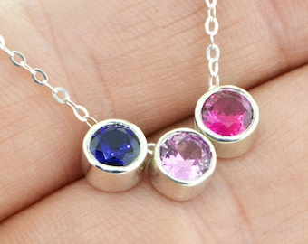 Family Birthstone Necklace, Mothers Necklace, Gemstone Necklace, Birthstone Slide, Birthstone Necklace, Mothers Jewelry, Mothers Pendant