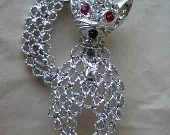 Cat Kitten Silver Brooch Rhinestones Red Vintage Pin Filigree Clear
