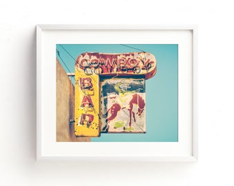 "industrial wall art, neon sign, rustic, fine art prints, masculine wall art, art for men, large art, large wall art, wall art - ""Cowboy Bar"""
