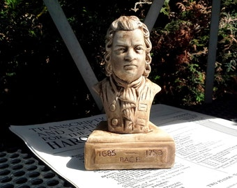 Composer bust of Johann Sebastian Bach that has been aged and distressed for the classical music lover, teacher, grad student, library decor