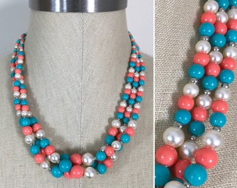 Vintage Turquoise Coral Pearl Graduated Bead Triple Strand Twist Necklace