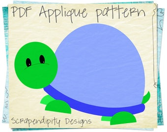 Turtle Applique Pattern -  Animal Applique Template / Turtle Quilt Pattern / Animal Wall Hanging / Boys Birthday Shirt / Printable AP314-D