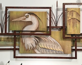 Framed Heron Wall Art - CW673