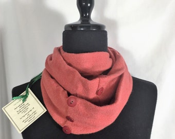 Infinity Cashmere Wool Scarf made from an upcycled burnt sienna sweater