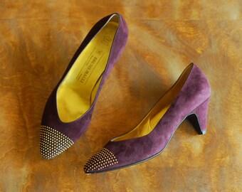 vintage Italian plum purple studded leather shoes / size 9.5
