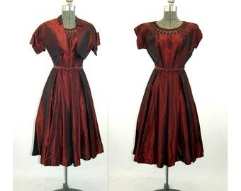 1950s taffeta dress sharkskin burgundy red  cocktail holiday dress with bolero jacket Jonathan Logan Size M