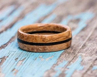 Bourbon Barrel Ring with Ebony Inlay - Wood Ring Wooden Ring Mens Wedding Band Whiskey Barrel Ring Wood Anniversary Gift Womens Wood Ring