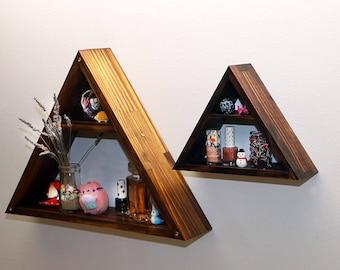 Triangle Shelf, Swarovski Crystal, Home Decor Storage,Wood Wall Shelves, Modern Shelving, Hand Stained, Geometric Shelf, Medium, Large