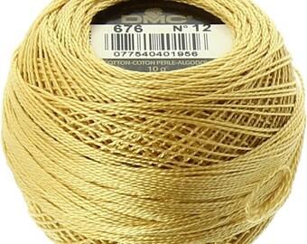 DMC 676 Perle Cotton Thread   Size 12   Light Old Gold