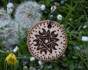 Magic charm of wood ~ Half Moon ~ Pentagram necklace