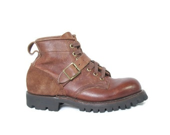 Dayton Ankle Boots - Brown Leather Ankle Boot - Size 6 US - Hiking Boot - Lace Up Boot - X-Boot - Motorcycle Shoe  - Western - Biker Boot