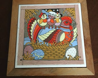 Chicken with Chicks Tile Trivet - Wall Hanging