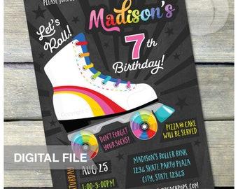 "Rainbow Roller Skate Birthday Party Invitation Skating Rink Skates - Chalkboard - Boy or Girl Party - DIGITAL Printable Invite - 5"" x 7"""