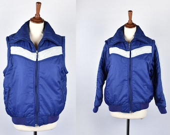 Convertible Ski Jacket and Vest with Cable Knit Accents