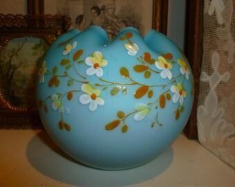 Vintage Blue Satin Glass Rose Bowl