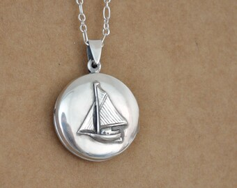 sterling silver locket necklace - JOURNEY - vintage style sailboat locket necklace antiqued sterling silver 925