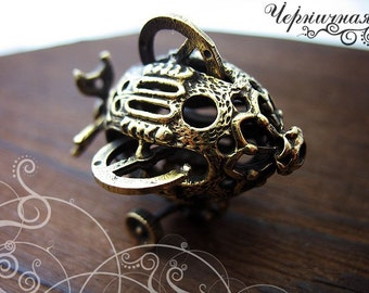 Dirigible airship steampunk brass jewelry findings L1489(1), air, steam, blimp, propeller, balloon. Designed and made by Anna Bronze.