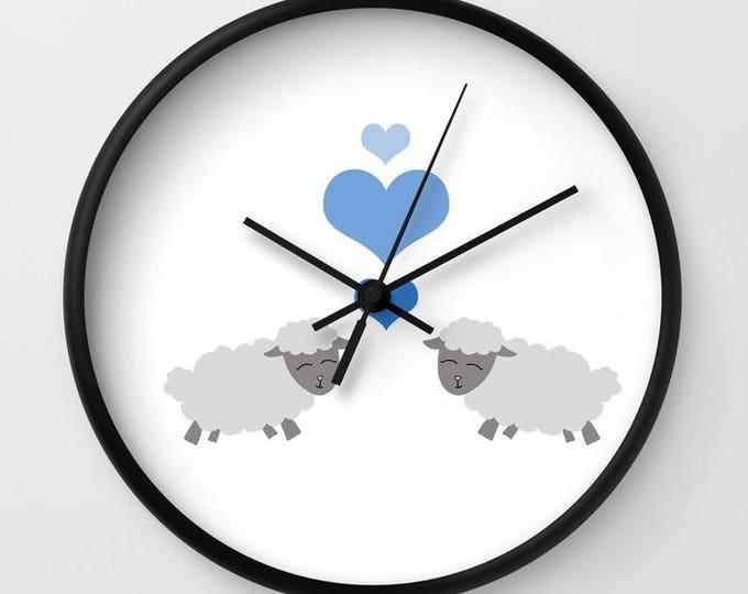 Sheep Nursery Clock - Lamb Wall Clock - Nursery Art Clock - Child's Wall Clock - Bedroom Decor - Made to Order
