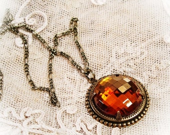 Glass Pendant Necklace, Amber Glass - Free Domestic Shipping