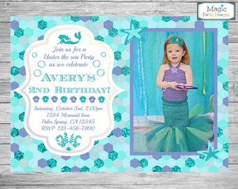 Mermaid invitation, Mermaid photo invitation, Mermaid birthday invitation, Mermaid invite, Mermaid party, Mermaid Birthday